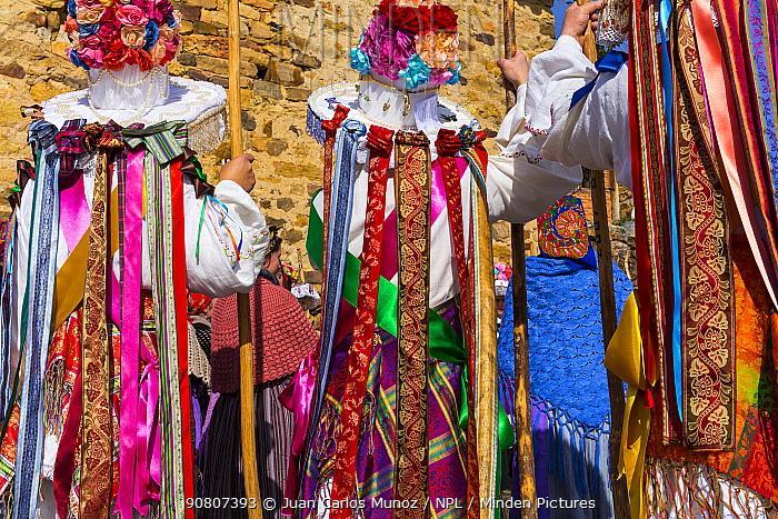 Men in colourful costumes at Carnival of Zamarrones, Belmonte village, Polaciones valley, Cantabria, Spain.