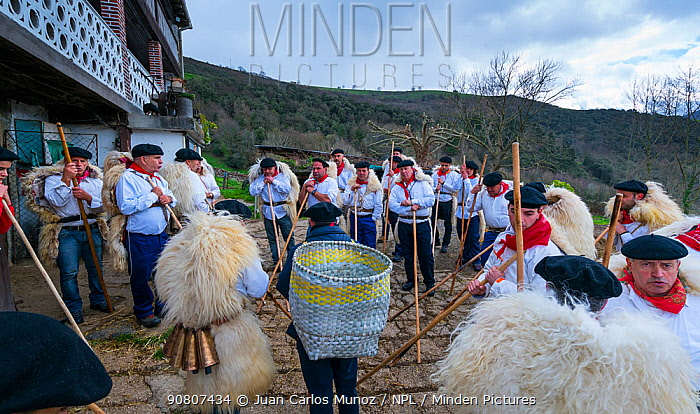 Men in traditional costumes with sheep skins celebrating 'Las Marzas' celebration, Soba Valley, Cantabria, Spain. March 2017.