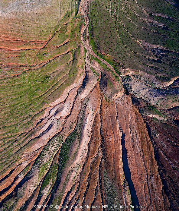 Aerial view of eroded landscape on Volcano Montana de Soo, Soo, Lanzarote Island, Canary Islands.
