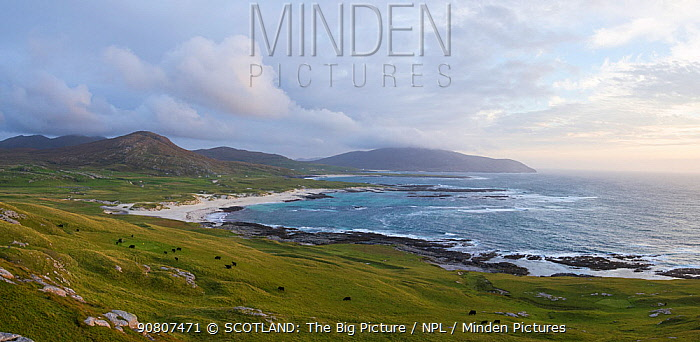 Evening on the west coast of the Isle of Barra, Outer Hebrides, Scotland, UK, September 2014.