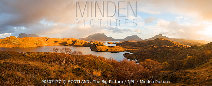 Mountains of Assynt and Loch Sionasgaig in the rain, Sutherland, Scotland, UK. November.