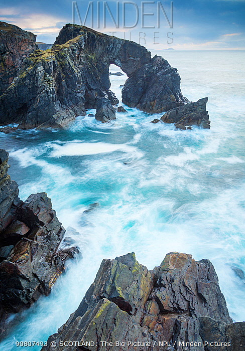 Stac a Phris sea arch with crashing waves on the west coat of the isle of Lewis, Outer hebrides, scotland, uk