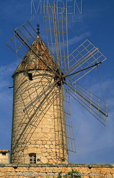 Traditional Spanish windmill, now a converted restaurant, near Sa Pobla, Majorca.