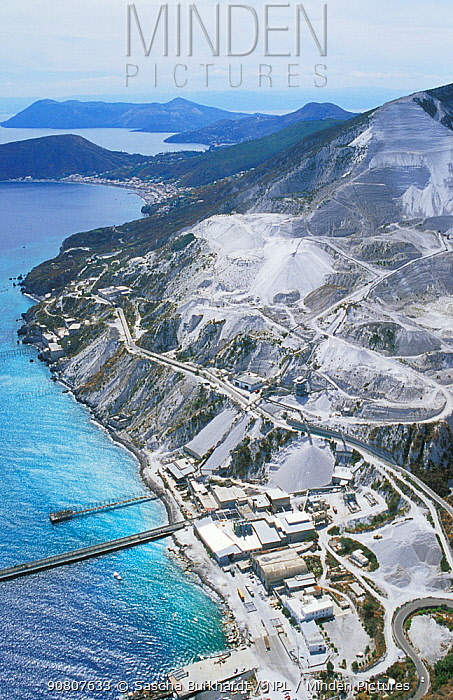 A pumice quarry on the island of Lipari, in the Aeolian Islands, Italy.