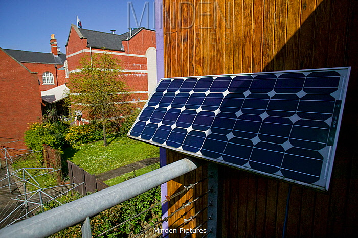 Photovoltaic cells to convert sunlight into electricity, Swansea Environmental Centre, Wales, UK 2009
