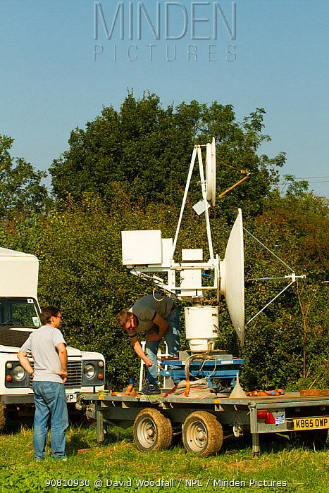 Radar designed to track bees and monitor flight around important food plants by Dr Stephan Wolf of Queens Mary College London. Research done at Rothampsted Agricultural Research station, Hertfordshire, UK. September 2014.