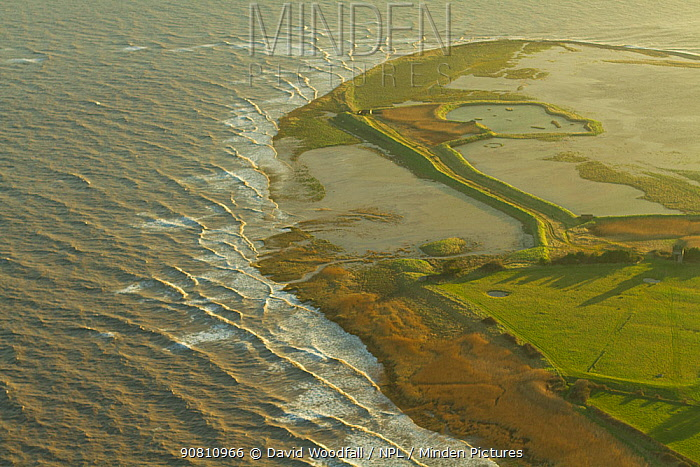 Aerial view of Steart Peninsula, Somerset, UK, February 2015.