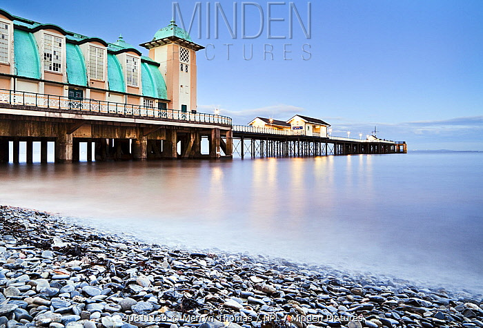 Penarth Pier at high tide, Vale of Glamorgan, Cardiff, Wales, February 2012. (This image may be licensed either as rights managed or royalty free.)