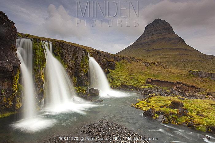 Waterfalls in front of Mount Kirkufjell, Grandarfjordur, Iceland, June 2012.