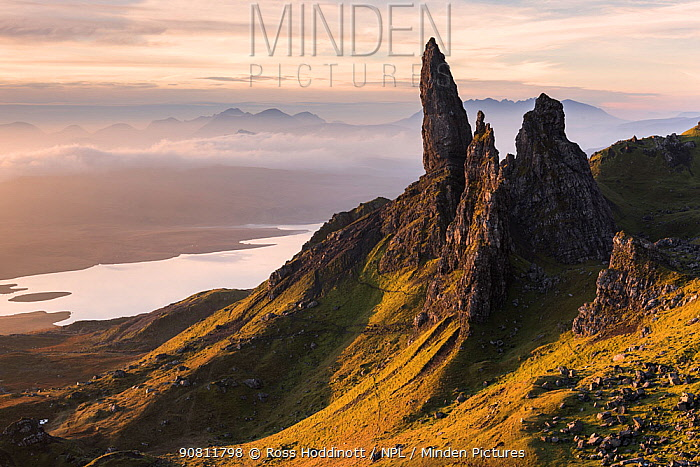 The Old Man of Storr, situated on the Trotternish peninsula of the Isle of Skye, Scotland, UK. Early morning light. November .