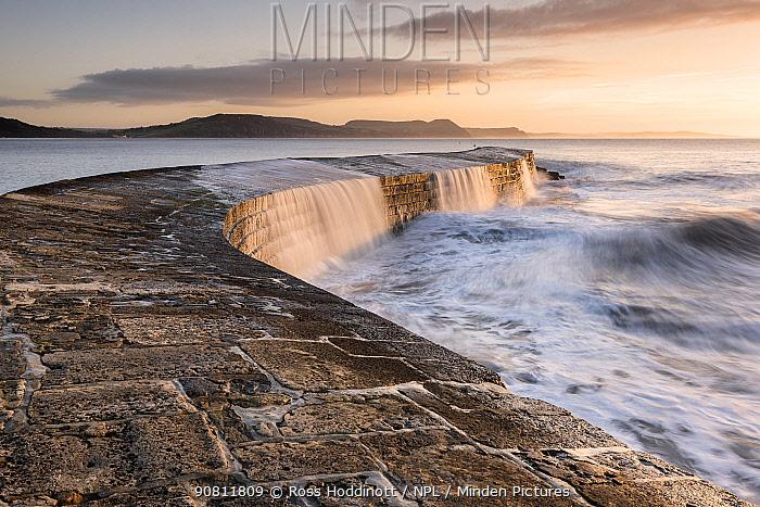 The Cobb, breakwater, Lyne Regis, Dorset, UK. January 2016.