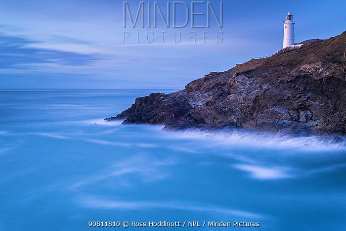 Trevose head, lighthouse in late evening light, Trevose, Cornwall, UK. March 2016.