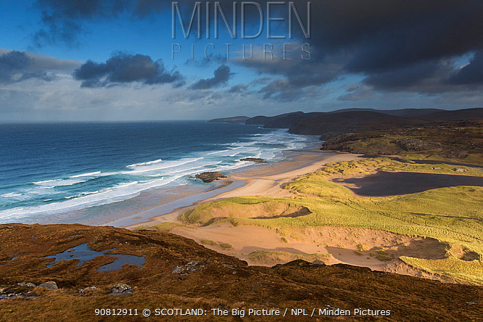 Sandwood Bay and dunes, Sutherland, Scotland, UK, November.