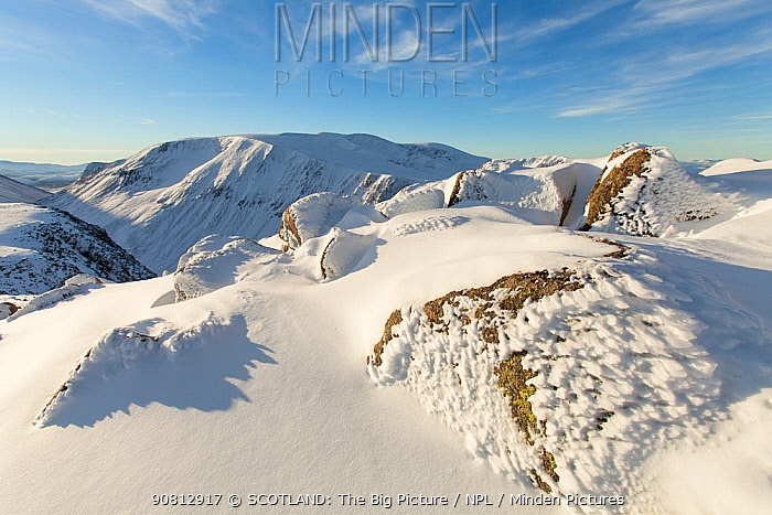 View from Lurcher's Crag across lairig Ghru to Breariach, Cairngorm Mountains, Scotland, UK., November
