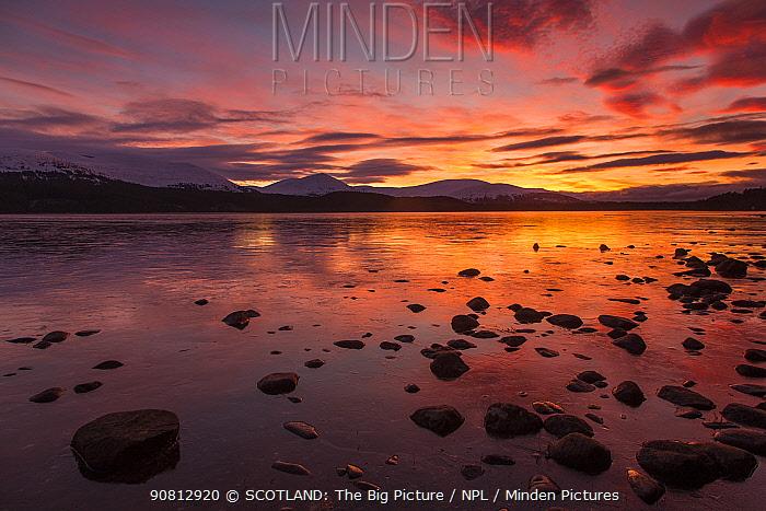 Loch Morlich at sunset, Cairngorms NP, Scotland, UK, November 2016.