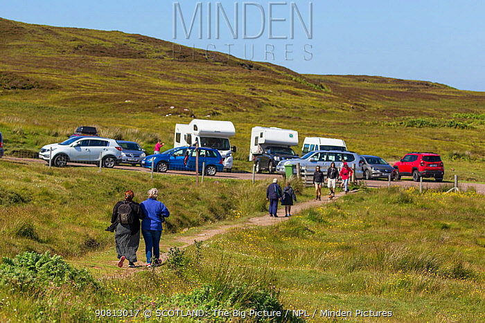 Car park and people on footpath, Achnahaird Bay, Coigach and Assynt Living Landscape, Scotland, UK.July