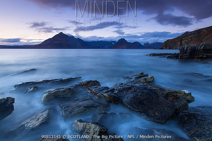 Loch Scavaig and Cuillin Mountains at dusk, Isle of Skye, Scotland, UK.October