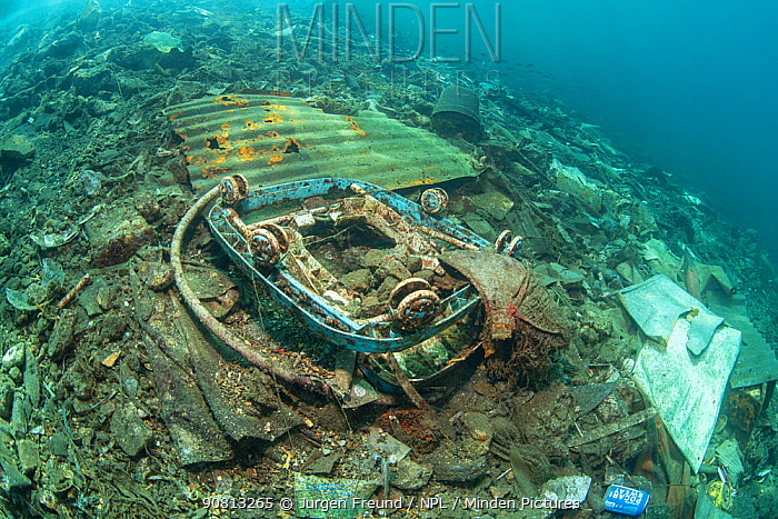 Rubbish covering the seabed, Maluku, Indonesia, November 2018.