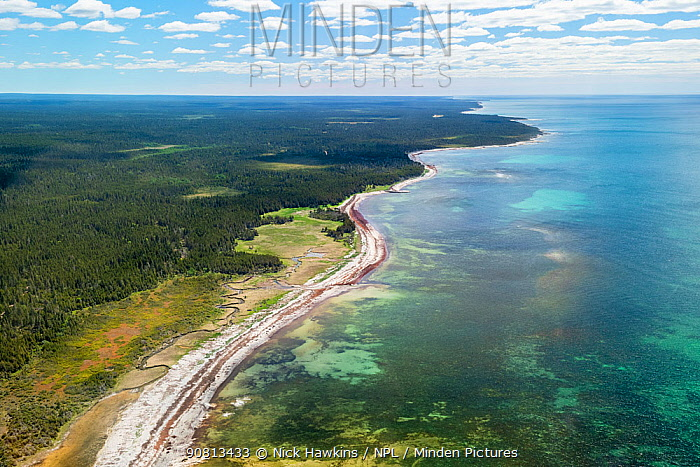Aerial view of Anticosti Island in the Gulf of Saint Lawrence, Quebec, Canada. June