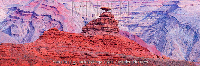 Mexican Hat, a caprock formation against eroded strata, Colorado Plateau, Great Basin Desert, USA, October 2018.