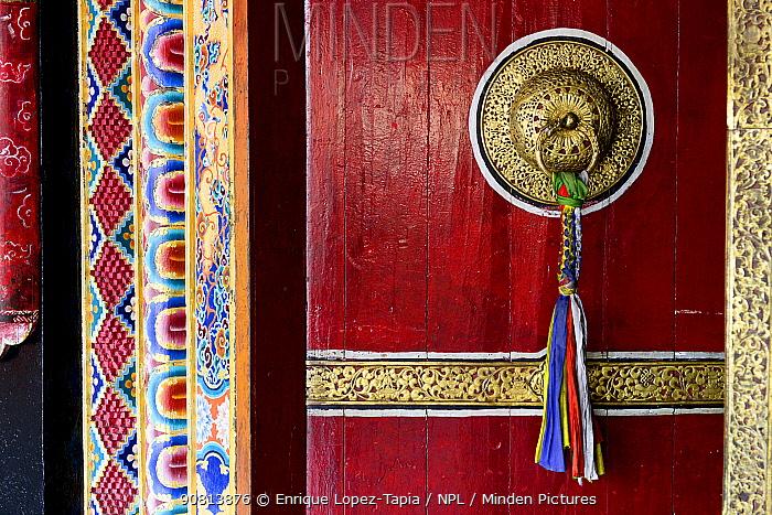 Old door of Rumtek, a Kagyu monastery near Gangtok in Sikkim. It is the largest monastery in Sikkim. India, October 2018.