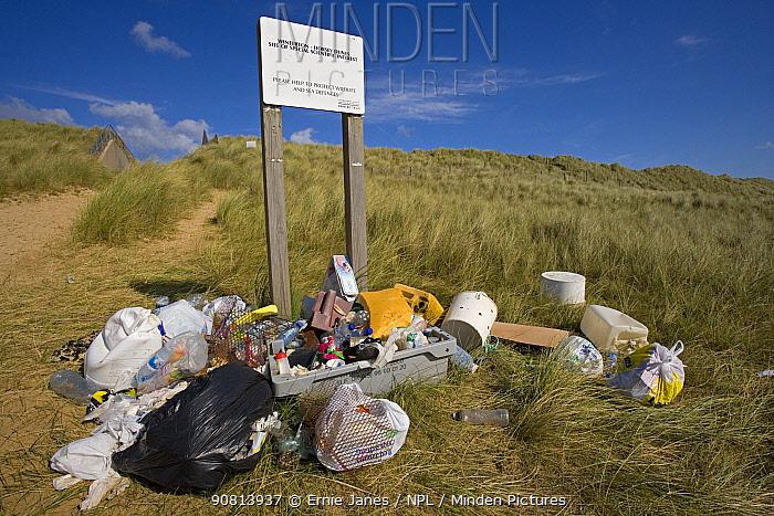 Rubbish from Winterton Beach, Norfolk, England, UK. September.