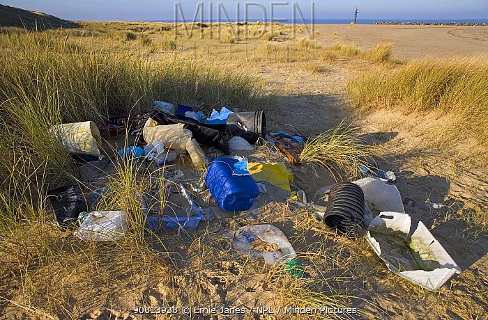 Rubbish from Palling Beach, Norfolk, England, UK. February.