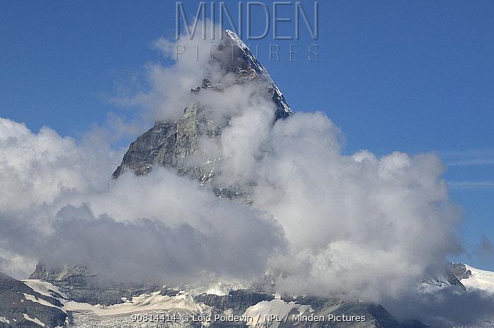 Cloud round the Matterhorn seen from Gornergrat, Valais, Switzerland, September 2018.