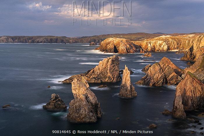 Sea stacks at Mangurstadh/Mangersta Beach, Isle of Lewis and Harris, The Outer Hebrides, Scotland, UK. October.