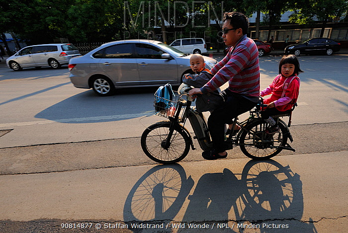 Man on bicycle commuting to work and the kids to school / daycare, Beijing, China