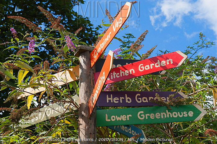 Signpost in Brockwell Park Community Garden, with flowering Buddelia in the background, London. England, UK, August