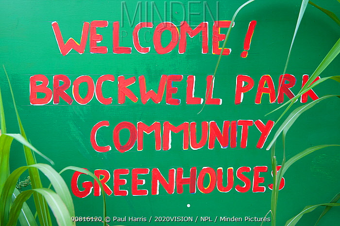 Welcome sign to Brockwell Park Community Greenhouses, London, England, UK, August