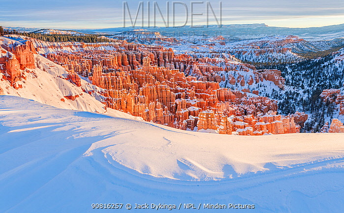Inspiration point covered in snow, Bryce Canyon National Park, USA, January.
