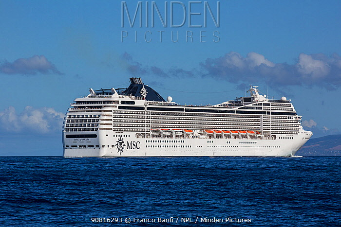 MSC Poesia cruise ship owned and operated by MSC Cruises. Dominica, Caribbean Sea, Atlantic Ocean.