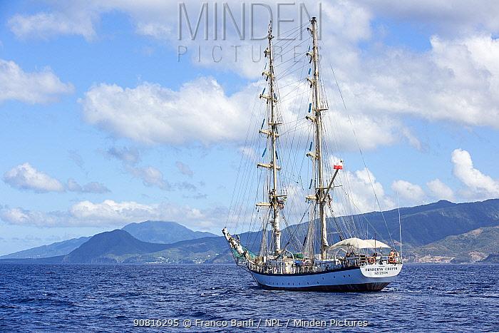 Fryderyk Chopin, a Polish brig-rigged sailing-ship. Dominica, Caribbean Sea, Atlantic Ocean