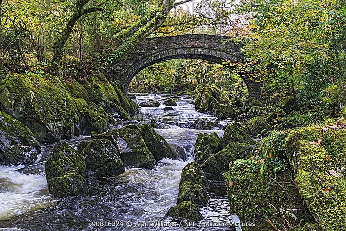 Bridge over River Lledr near Betws-y-Coed, Snowdonia National Park North Wales, UK, October 2018.
