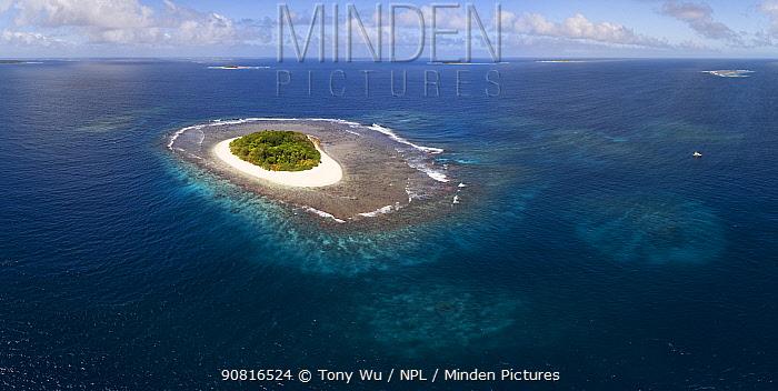 Aerial panorama of Lua Ui Island in the Vava'u island group, Kingdom of Tonga.