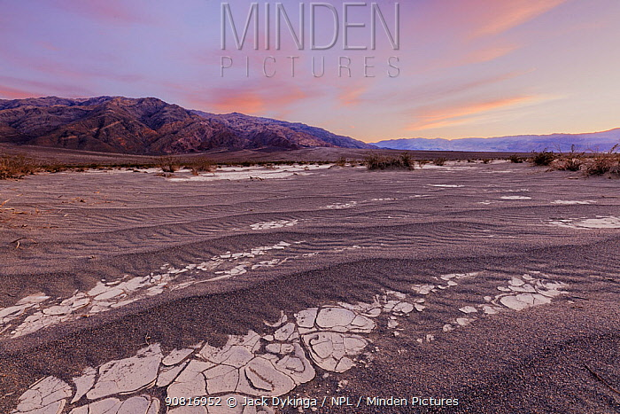 Sand dune interface with cracked clay formations from prior flooding, at sunset. California Mesquite Flats ,Death Valley National Park, Mojave Desert, California, USA. February 2019.