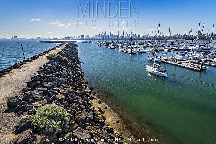St Kilda breakwater, location of Little penguin (Eudyptula minor) colony. Royal Melbourne Yacht Squadron marina with city skyline beyond. Melbourne, Victoria, Australia. 2018.