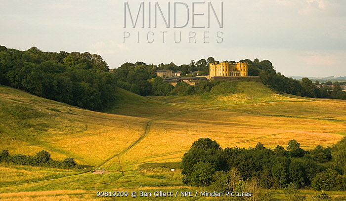 Stoke Park Estate landscape, featuring the yellow Dower House, built in 1563 as a private stately home, but is now converted to private flats, Purdown, Bristol, UK, July 2019.