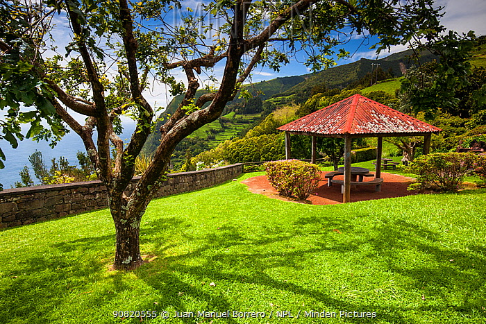 Lookout and picnic area at Ponta de Sossego. Sao Miguel Island, Azores, Portugal. 2019.