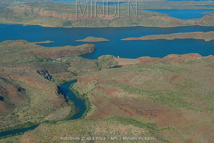 Aerial view of reservoir, dam and the Ord River. Lake Argyle, The Kimberley, Western Australia. 2015.
