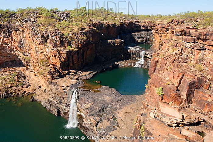 Mitchell Falls in dry season with little flow. The Kimberley, Western Australia. 2015.