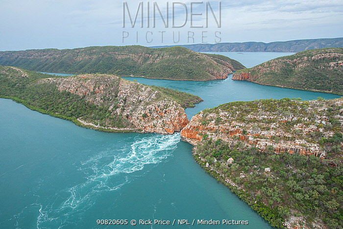 Tidal water movement at Inner falls, aerial view. Talbot Bay, The Kimberley, Western Australia. 2016.