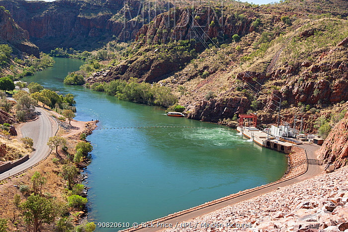 View from Ord River Dam, looking downstream through river valley. Lake Argyle, The Kimberley. 2016.