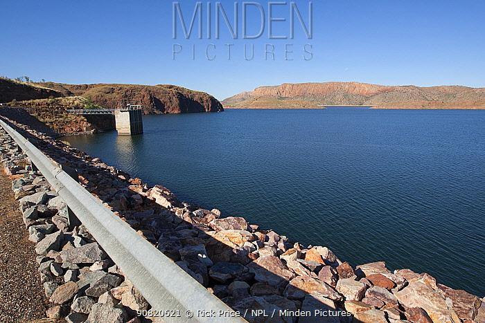 Lake Argyle reservoir, part of Ord River irrigation scheme. Hydro electric power generation at dam. 2015.