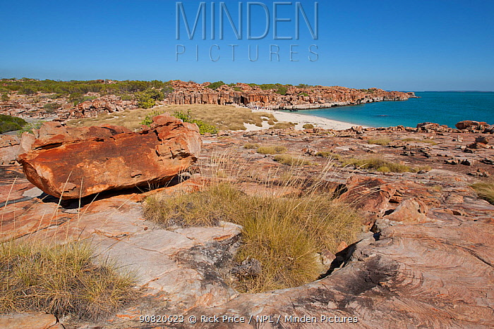 Rocky coastline with view to location of cave with Aboriginal rock art. Wary Bay, Bigge Island, Bonaparte Archipelago, The Kimberley, Western Australia. 2015.