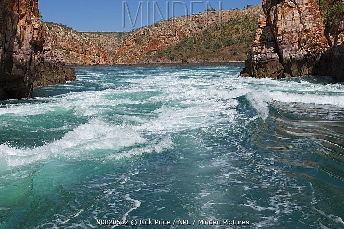 Fast tidal water flow through Horizontal Waterfalls. The Narrows, Talbot Bay, The Kimberley, Western Australia. July 2015.