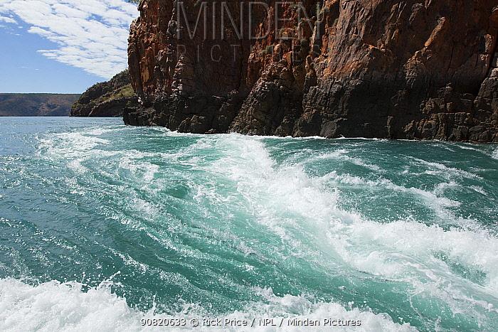 Fast tidal water flow through Horizontal Waterfalls in The Narrows. Talbot Bay, The Kimberley, Western Australia. July 2015.