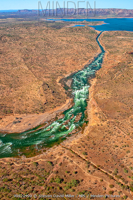 Spillway diverting water during high flow event. Lake Argyle reservoir, dammed in 1971 for Ord River Irrigation Scheme. The Kimberley, Western Australia. 2017.